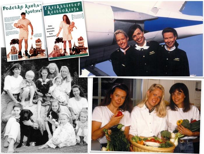Three cabin attendants, eight children, three dogs, three rabbits, one cat and three engineer husbands.